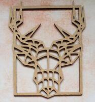Holz MDF Laserschnitt Geometrisch Hirschkopf in Rahmen - Craft, Rustikal, Nordic