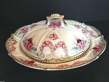 1850-1899 Nippon/Noritake Moriage Painted Butter-Cheese Dish/Domed Lid Gold Gilt