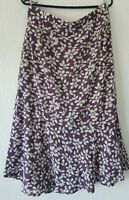EASTEX FULLY LINED SKIRT  MAUVE WITH CREAM COLOUR FLORAL PATTERN UK 16