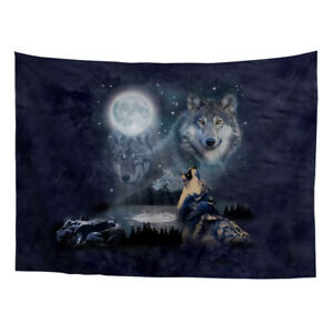 Wolf Pattern Fabri Tapestry Home Decor Wall Hanging Classical Office Boys 51x60""