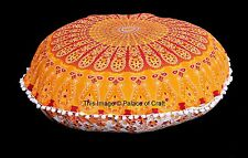 Indian Round Mandala Floor Cushion Cover With Pom Pom Big Pillow Sham Case Gypsy