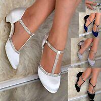 Womens Satin Low Kitten Heel Shoes Rhinestone T-strap Pumps Dress Sandals Size