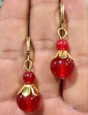 Beautiful Natural 6-12mm  red ruby Gemstone  Gold-plated / Dangle Earrings
