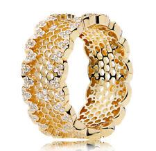 New Authentic PANDORA SHINE Honeycomb Lace Ring 167100CZ