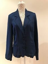 Long Tall Sally Size 12 Blue 100% Linen Light Jacket Double Breast Front Pockets