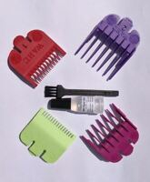Wahl Hair Clipper 4 Coloured Comb Guard Set Numbers 0.5 - 2 Inc. Oil & Brush Set