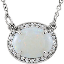 "Opal & Diamond 16"" Necklace In 14K White Gold"