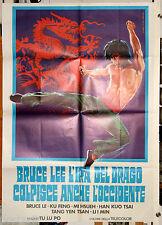 manifesto 2F originale BRUCE LEE L'IRA DEL DRAGO COLPISCE ANCHE L'OCCIDENTE 1980