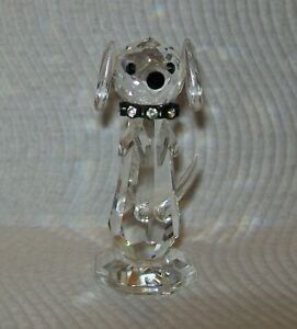 VINTAGE MINIATURE FACETED CRYSTAL/GLASS BEGGING DOG with diamante collar 7cm