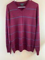 Banana Republic Men's 100% Merino Wool Striped V-Neck Long Sleeve Sweater SZ LG