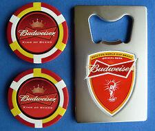 2 BUDWEISER CASINO POKER CHIP GOLF BALL MARKERS Plus Bottle Opener