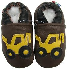 carozoo forklift brown 3-4y soft sole leather toddler shoes