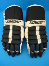 Vintage Black / White Cooper 29 Hockey Gloves - Leather Palms - Armadillo Thumb