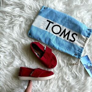 Toms Classic Toddler T6 Boy Girl Unisex Red Shoes w/ Bag