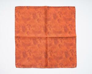 "Battisti $95 Orange Tonal Floral Abstract 100% Silk Designer Pocket Square 13"""