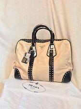 RARE LIMITED EDITION PRADA Cream Black Leather Spectator Silver Handbag, $3800