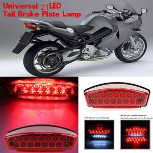 12V Universal 21 LED Motorcycle Rear Tail Brake Light Running License Plate Lamp