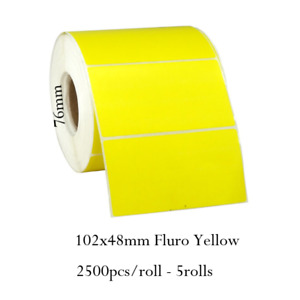 102x48mm Fluro Yellow Label Roll Thermal Transfer 2500/roll 5rolls Core 76mm