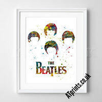 THE BEATLES Print Poster Watercolour Framed Canvas Wall Art John Lennon