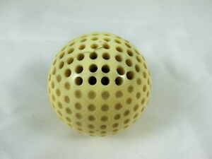 CARVED GOLF BALL SHAPED STICK PIN HOLDER, HAT PIN C1880'S