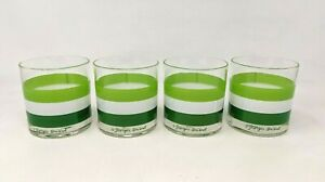 VTG MCM 4 Georges Briard Cabana Green Stripes Old Fashioned Rocks Glasses PR21