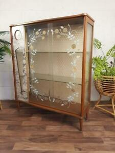 Vintage 1960's China Cabinet Teak & Glass Marble Formica Kitsch Retro Atomic