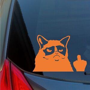 Grumpy Cat middle finger vinyl sticker decal flipping off meme car window laptop