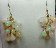 Pair 8ct Genuine Ethiopian Fire pear Opal cluster dangle solid 14k earrings