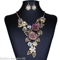 Fashion Womens Crystal Flower Necklace Bib Choker Chunky Statement Pendant Chain