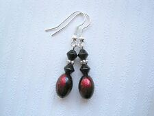 RED BLACK GLASS OVAL BEAD Black Bicone Drop Earrings Gift Bag Gothic Blood Drops