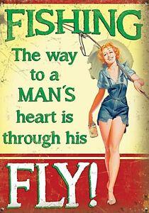 Angeln Die Weg zu Einem Männer Heart.through His Fly! Stahlschild 200mm x 150mm