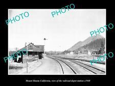 OLD LARGE HISTORIC PHOTO OF MOUNT SHASTA CALIFORNIA, RAILROAD DEPOT STATION 1940
