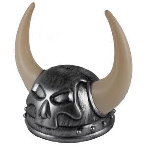 Adult Plastic Nordic Warrior SILVER Viking Helmet Costume Hat with Skull & Horns