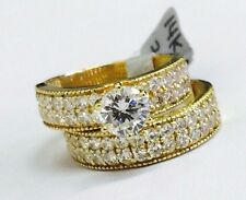 14K YELLOW GOLD WOMEN'S BRIDAL SET CUBIC ZIRCONIA 6MM / 0.75CT by Gianni Deloro