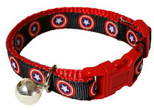 Spoilt Rotten Pets Quality Captain America Cat Collar. Safety Buckle and Bell