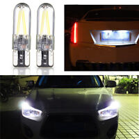 2x T10 194 168 W5W COB LED CANBUS Glass License Plate Light Bulb White new