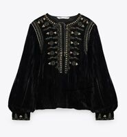 Zara AW20 Embroidered Velvet Blouse Size M Black Gold Sold Out BNWT
