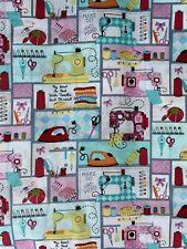 "100% Cotton Fabric FQ 18""x 21"" Fat Quarter Sewing Theme Pink Blue  1/4 Yard"