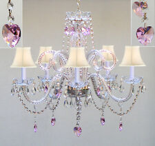 "Chandelier Lighting w/ Crystal White Shades & Hearts! H25"" X W24"""