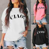 Womens Letter Print Long Sleeve Crew Neck Casual Baggy Pullover Sweatshirt Tops