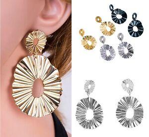 Chunky Large Drop Dangle Statement Boho Style Earrings Black GOLD SILVER Stud