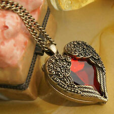 Women Retro Bronze Tone Angel Wing Red Heart Rhinestone Pendant Chain Necklace