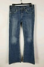 Silver Jeans Co Aiko Mid Flare Size 29x33 Distressed Hem Denim Pants Womens