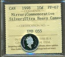 Canada 1998 Silver 10 Cent Mirror; Commemorative Certified ICCS PF-67 UHC