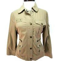 Lauren RALPH LAUREN Safari Jacket Khaki Brown 8 Pockets Zip/Snap Up Women's M