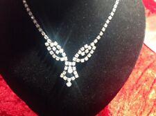 Diamanté Necklace 1950s- Signed A Lovely Silver Tone Metal