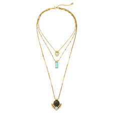 NEW Urban Anthropologie Magnon Tri Loop Teal White Brown Bead Gold Necklace