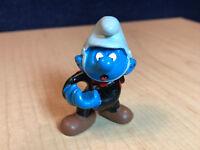 Smurfs Fireman Smurf 40216 Gray Helmet Rare Vintage Toy Figure PVC Figurine 1980