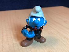 Smurfs Fireman Super Smurf Figure Grey & Black Clothes Vintage PVC Toy Lot 40216