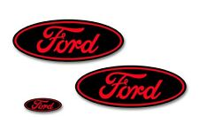 Front,Rear,Steering Wheel Vinyl Decals Oval Overlay For Ford F-150 15-17 BLK RD